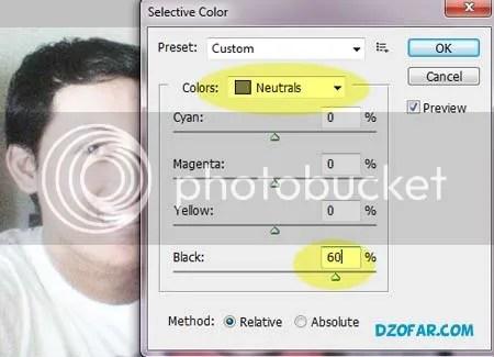 mengatur selective color