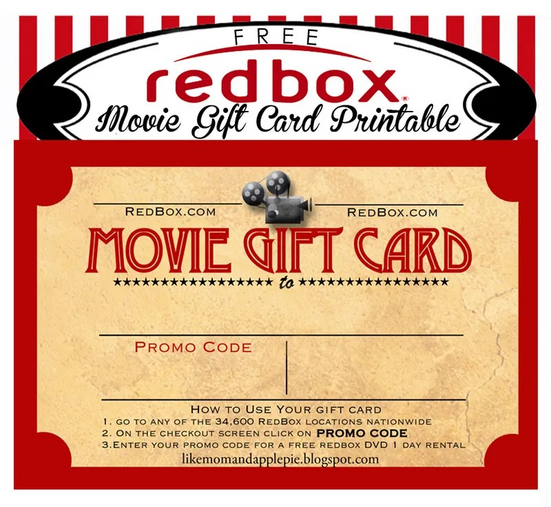 Like Mom And Apple Pie Movie Gift Card Printable FREE