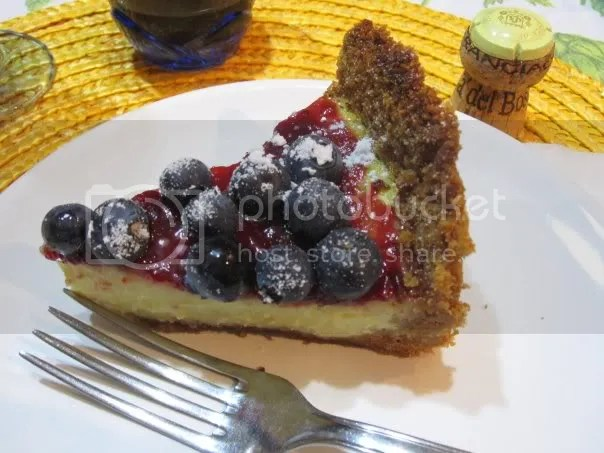 cheesecake con mirtilli freschi