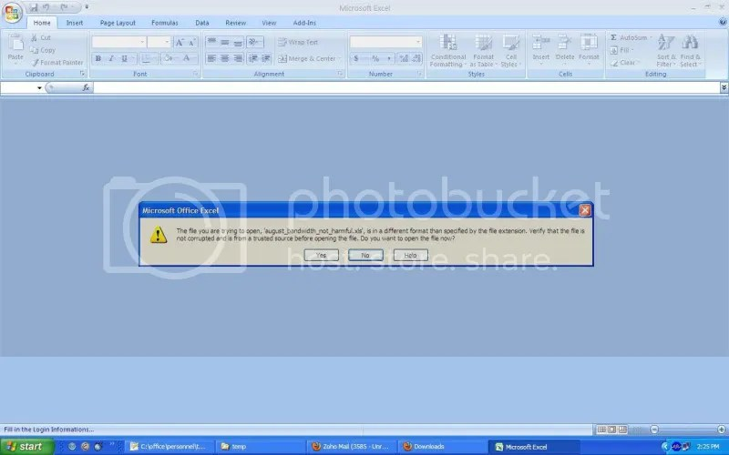 Error message coming up in Microsoft Excel