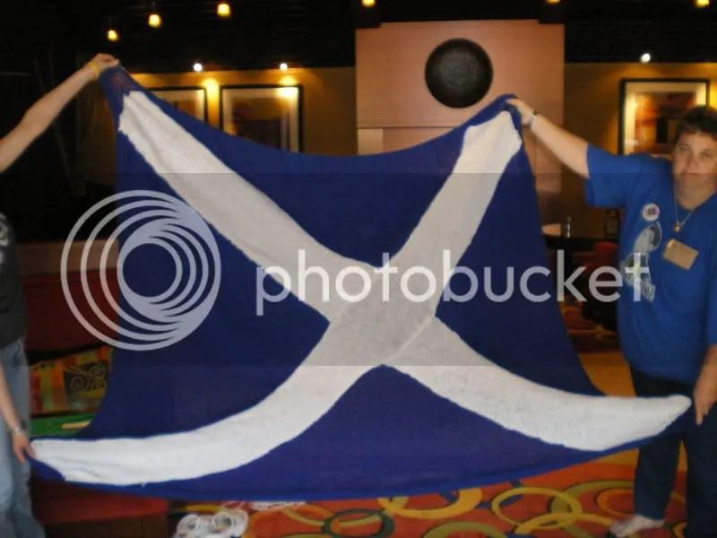 The Scottish Flag blanket I made for Paul McGillion