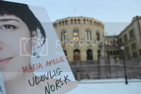 Maria Amilie's book cover contrasts Norway's Parliament building