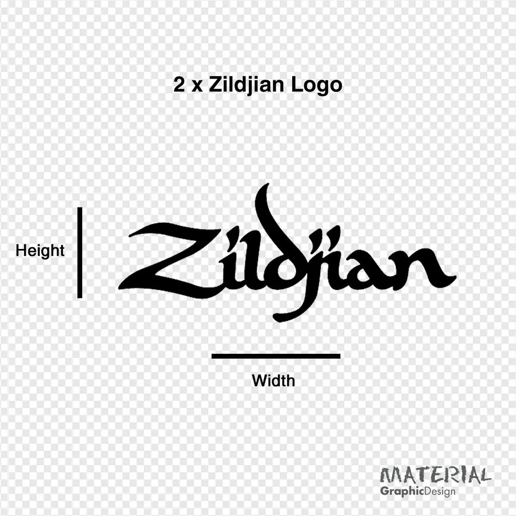 2x Zildjian Logo Sticker Decal Bass Drum Head Drums Kit