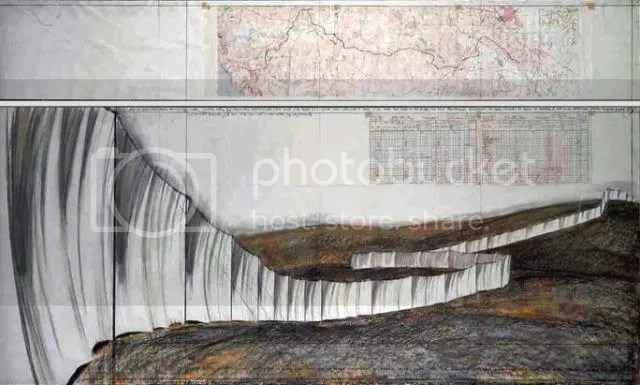 "Running Fence, Project for Sonoma and Marin Counties, California, 1972-76. Christo (b. 1935) and Jeanne-Claude (1935-2009). Drawing 1976 in two parts, 15 x 96"" and 42 X 96"". Pencil, pastel, charcoal, wax crayon, topographic map. technical data, tape, and ball point pen. ref# 17. Photo: Eeva-Inkeri ©1976 Christo"