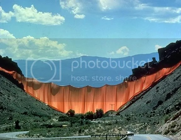 Vallley Curtain, Rifle, Colorado, 1970-72. Christo (b. 1935) and Jeanne-Claude (1935-2009). Photograph: Wolfgang Volz ©1972 Christo