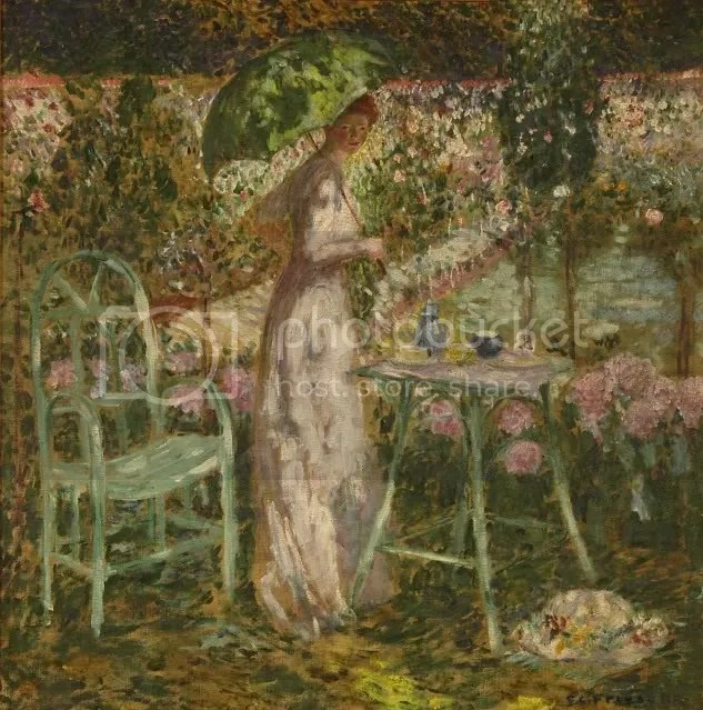Frederick Carl Frieseke, The Green Parasol, 1915, Oil on Canvas, 31 3/4 x 32 in. The Jack Warner Collection.