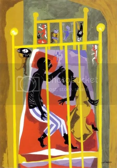 Dreams #1 (1965), Jacob Lawrence (1917-2000). Gouache on paper, 31 x 22 1/2 in. New Britain Museum of American Art, Charles F. Smith Fund, 1983.03.