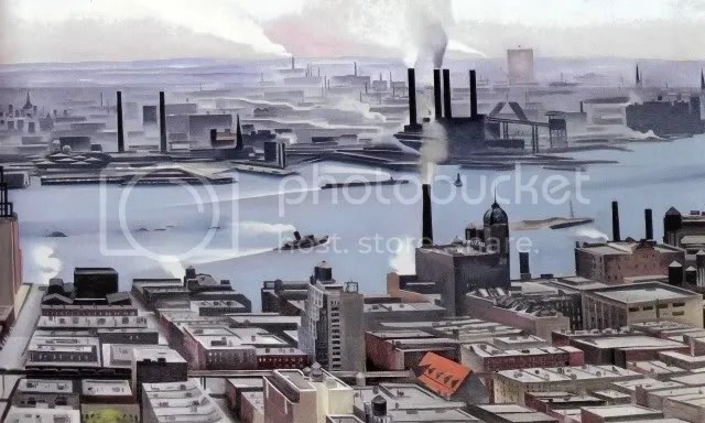 East River from the 30th Story of Shelton Hotel (1928). Georgia O'Keeffe (1887-1986). Oil on canvas, 30 x 48 1/8 in. New Britain Museum of American Art, Stephen B. Lawrence Fund, 1958.09.