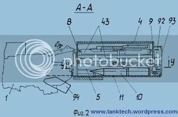 1 - Arma, 4 - Techo de Torre 8, pared frontal, 9 – Pared trasera, 10 – munición, 11 – Piso, 43 - marco de cassettes, 92 – cubierta del mecanismo de recarga, 93 – caja blindada que contiene el mecanismo de carga y de rotación de munición. 94 –Guía móvil.