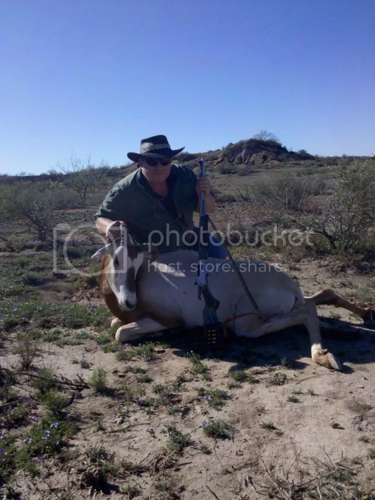 Dad with his cow oryx