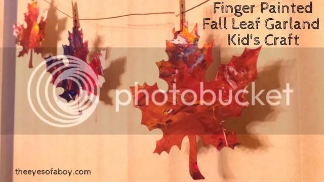 Fall leaf craft - Kid-made, finger painted leaf garland / bunting decor