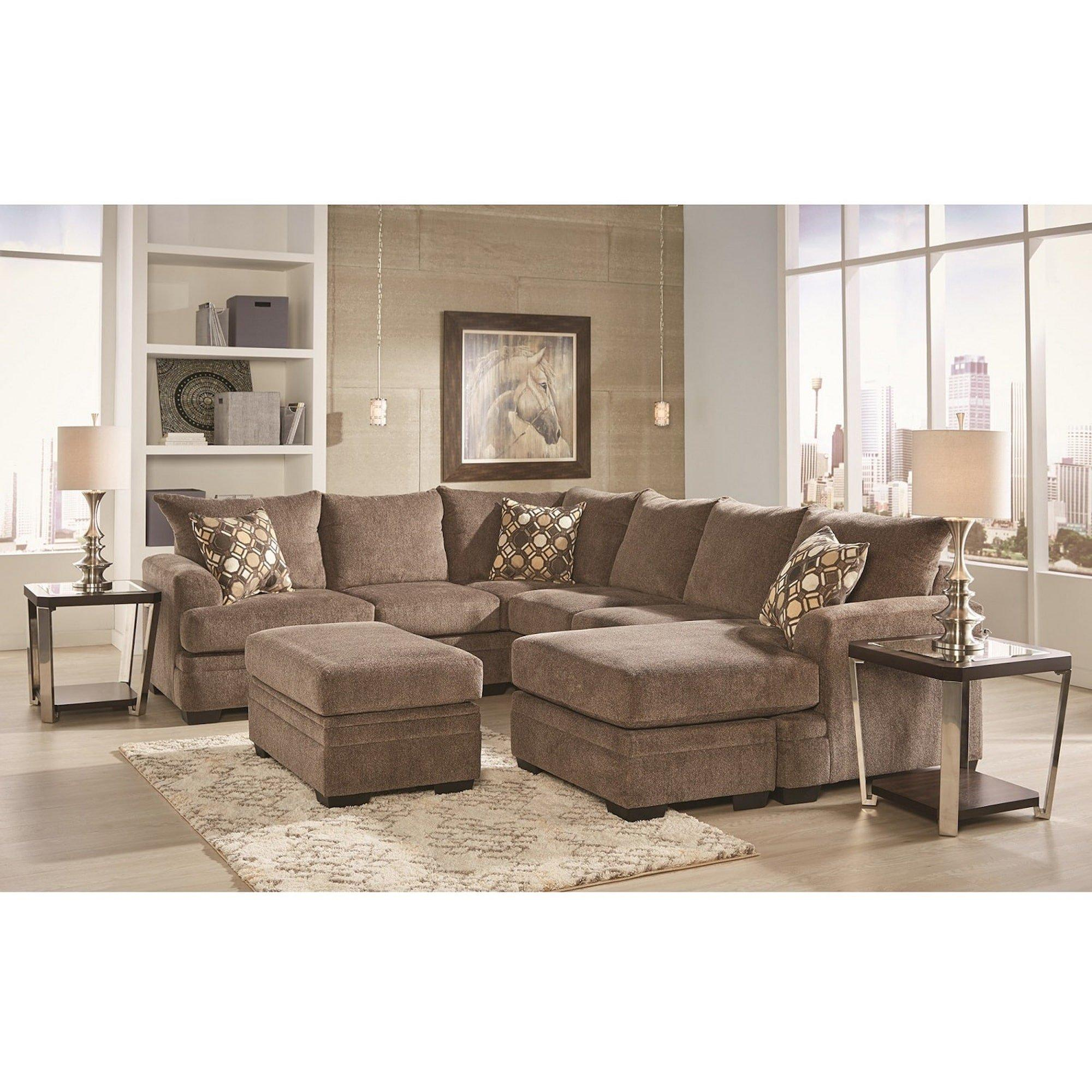 3 piece kimberly sectional living room collection with storage ottoman