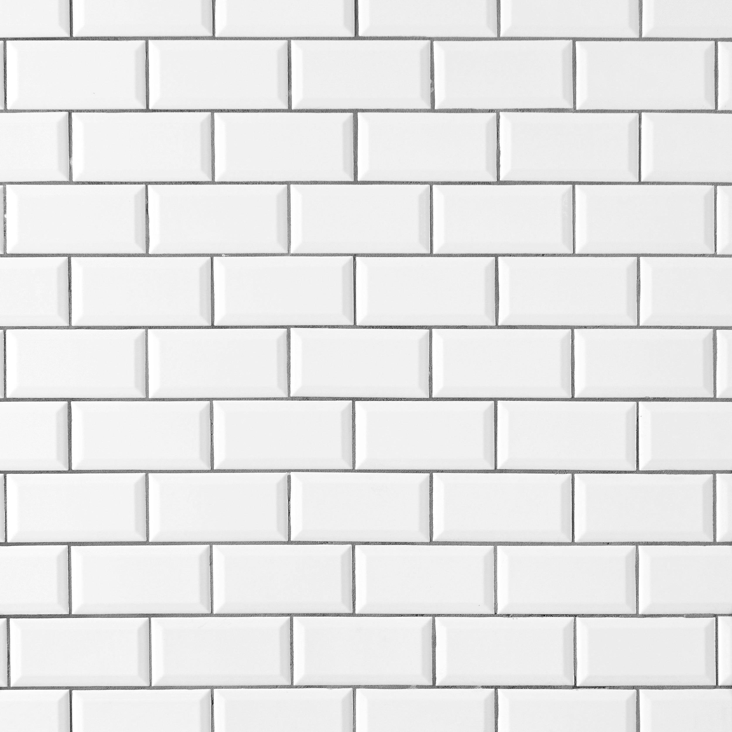 festival bright white ice beveled ceramic wall tile