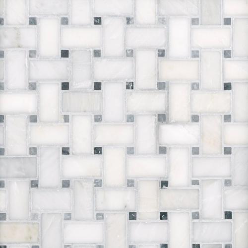 carrara white basket weave marble
