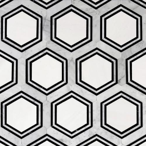 carrara thassos hexagon waterjet marble