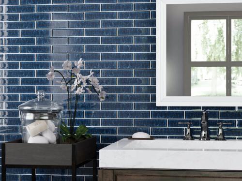 duchess blue glass tile 2 x 8