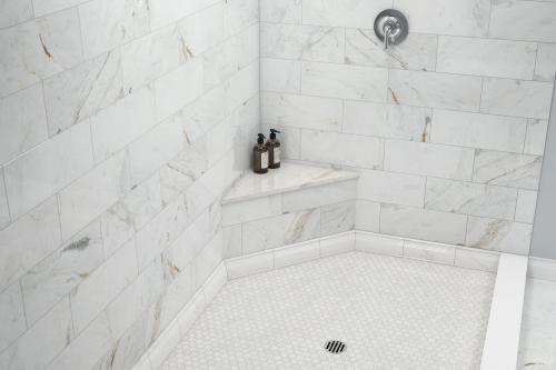 bianco orion hexagon polished marble