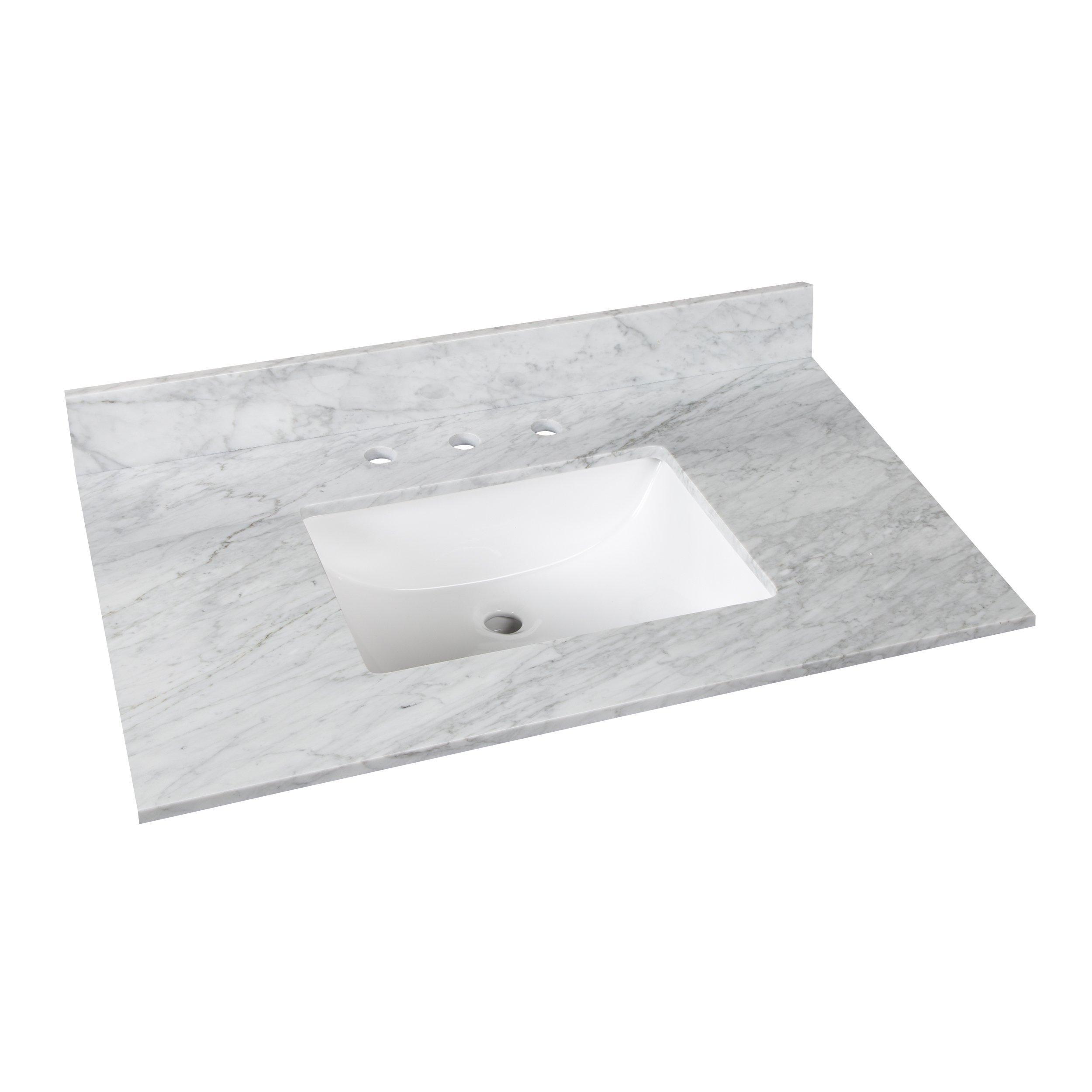 bianco carrara marble 37 in vanity top includes backsplash