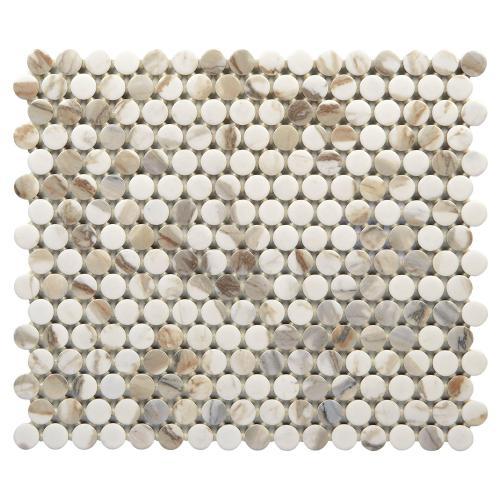 calacatta vecchia ceramic penny mosaic