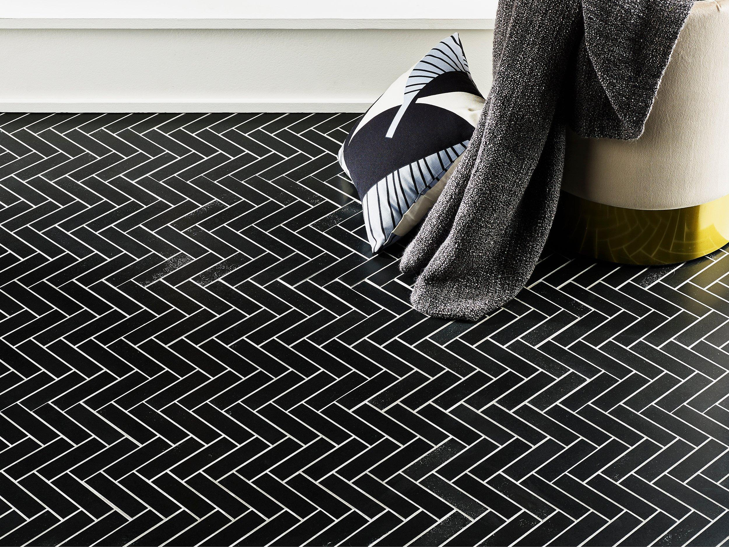 jet black basalt herringbone mosaic
