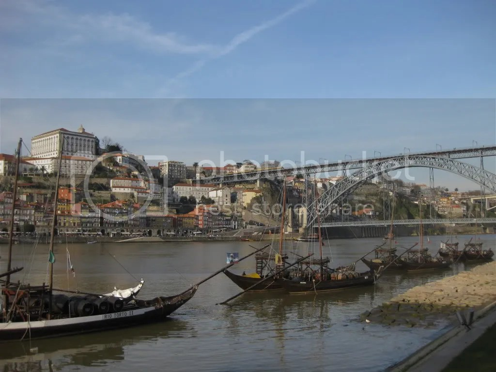 A view of old Oporto, the Douro River and the Dom Luis bridge from Vila Nova de Gaia.