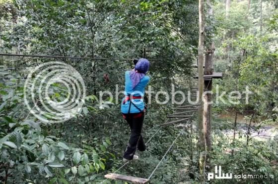 titi kayu bertali  peserta perlu pandai imbangkan badan dan kaki