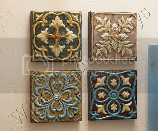 TUSCAN Scroll S/4 Large Medallion Embossed WALL PLAQUES