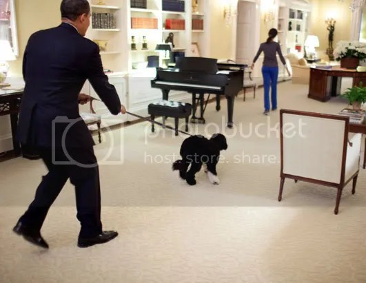 Barry walking the dog in his shoes in the White House