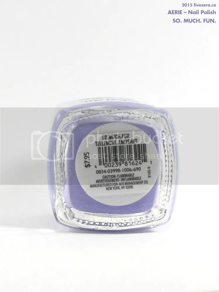 Aerie Nail Polish in So. Much. Fun., label