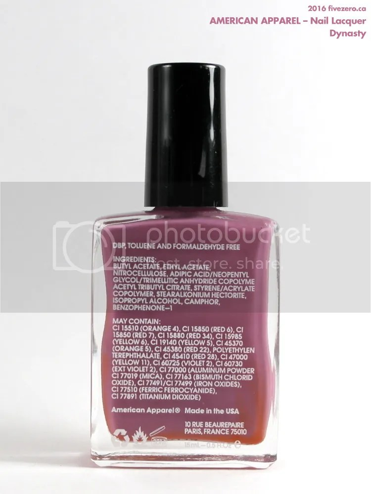 American Apparel Nail Lacquer in Dynasty, ingredients