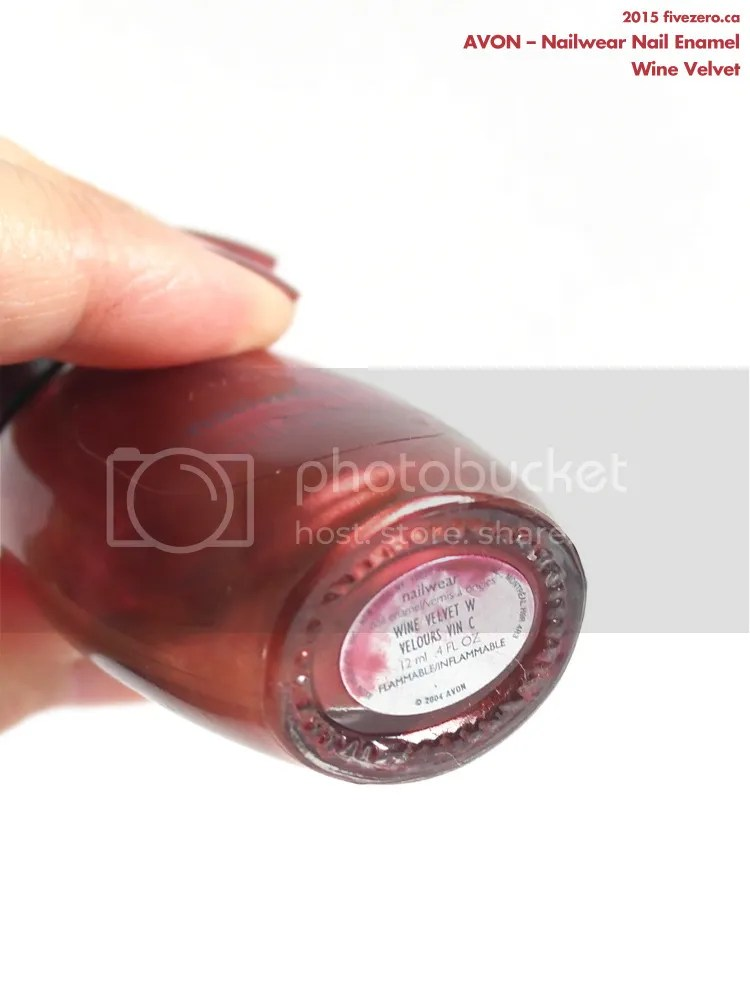 Avon Nailwear Nail Enamel in Wine Velvet, label