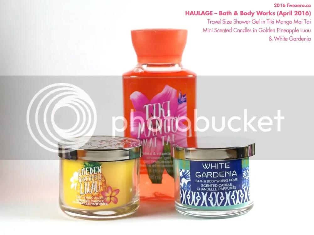 Bath & Body Works mini scented candles in Golden Pineapple Luau and White Gardenia, Travel Size Shower Gel in Tiki Mango Mai Tai
