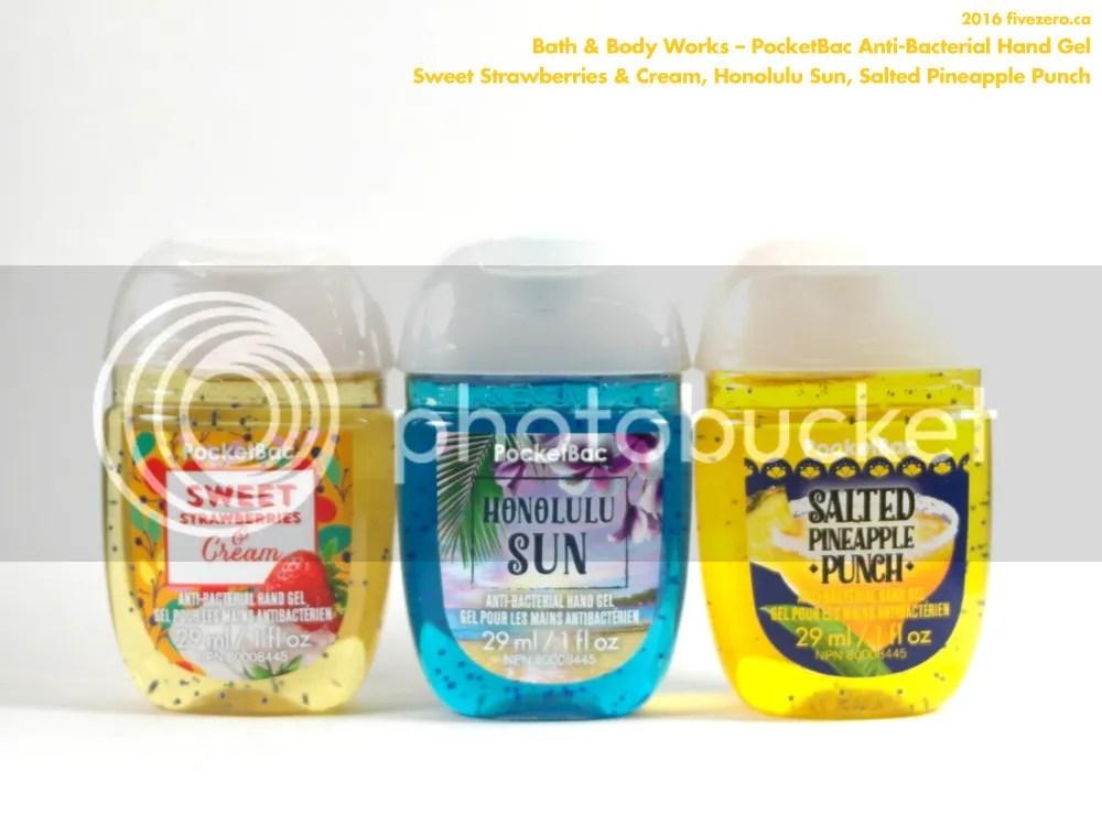 Bath & Body Works, PocketBac Anti-Bacterial Hand Gel sanitizer in Sweet Strawberries & Cream, Honolulu Sun, Salted Pineapple Punch