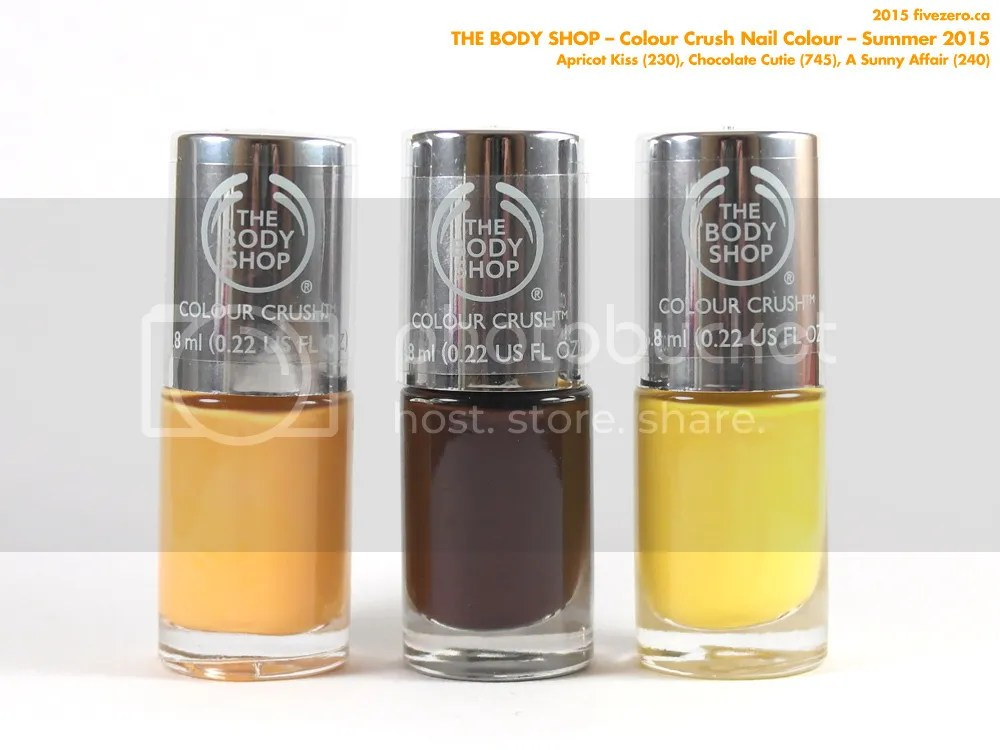 The Body Shop Colour Crush Nail Colour, Summer 2015, Apricot Kiss, Chocolate Cutie, A Sunny Affair