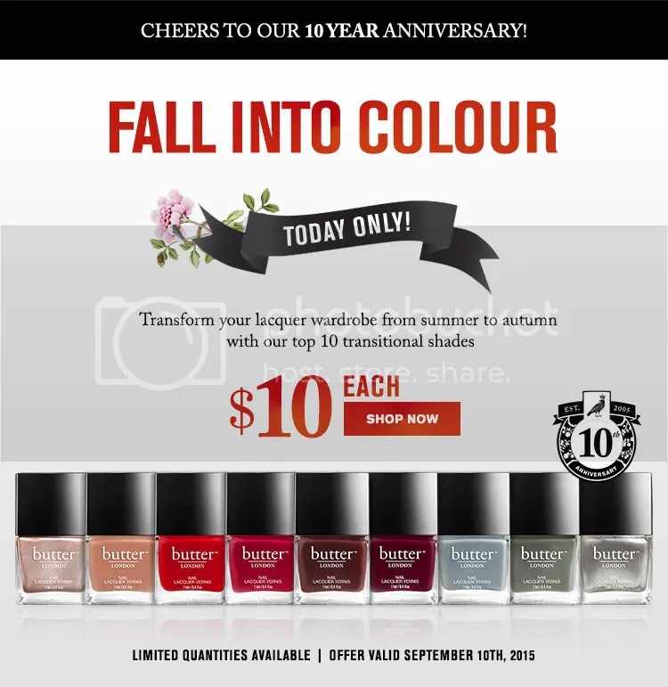 butter LONDON 10th Anniversary sale, September 2015
