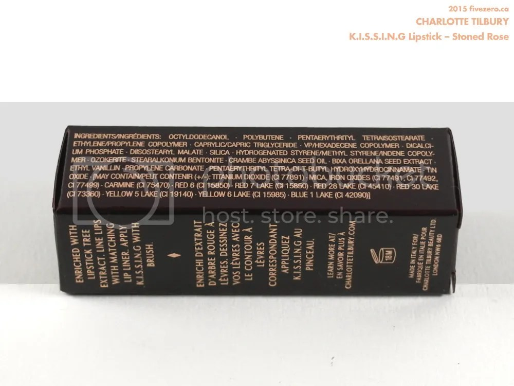 Charlotte Tilbury KISSING Lipstick in Stoned Rose, ingredients & label