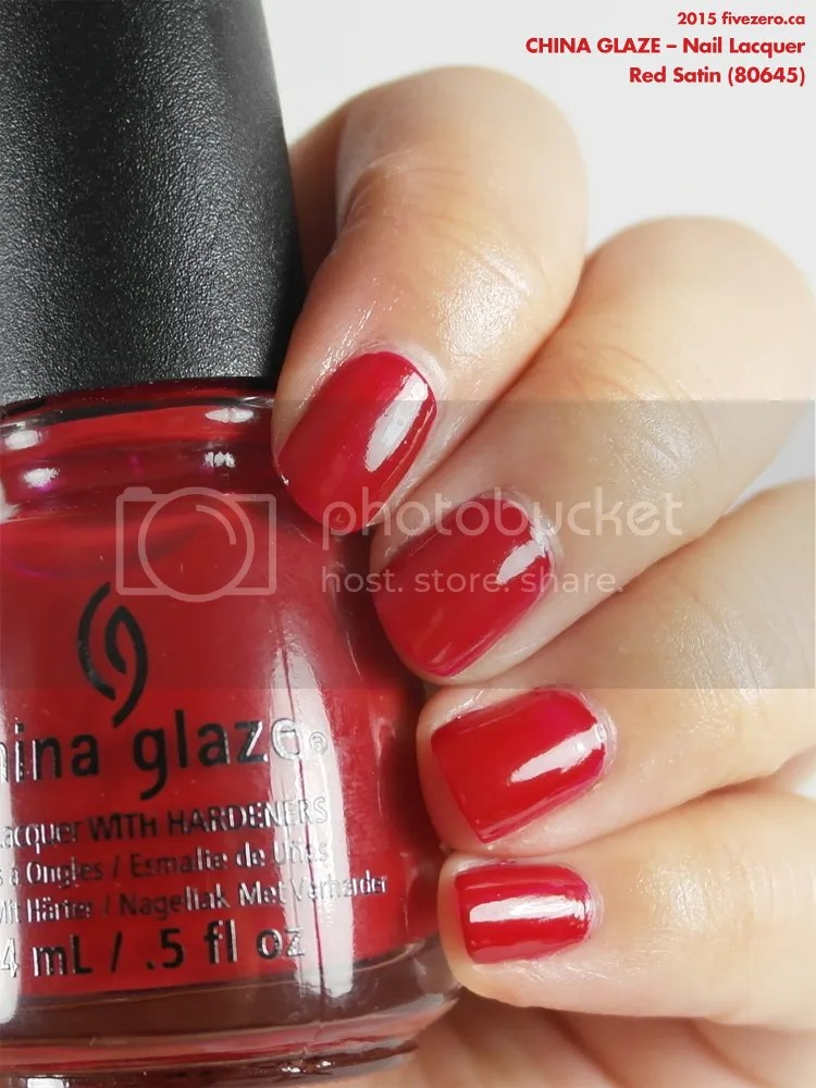 China Glaze Nail Lacquer in Red Satin, swatch