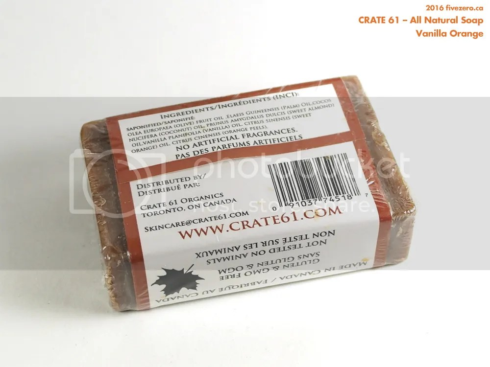 Crate 61 Organics All Natural Soap in Vanilla Orange, ingredients