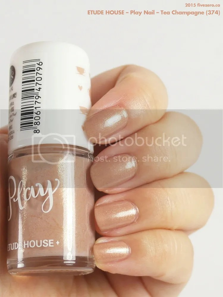 Etude House Play Nail in Tea Champagne, swatch