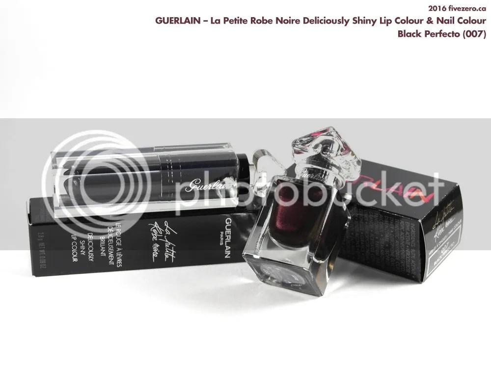 Guerlain La Petite Robe Noire Deliciously Shiny Lip Colour & Nail Colour in Black Perfecto (007)