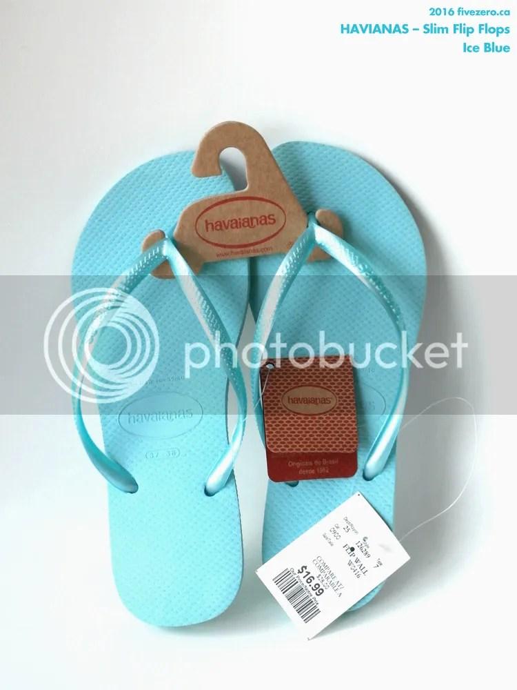 Havianas Slim Flip Flops in Ice Blue