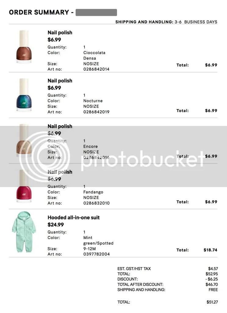 H&M Canada online order, nail polish, onesie