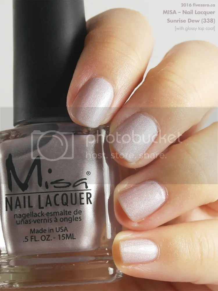 Misa Nail Lacquer in Sunrise Dew, swatch with top coat