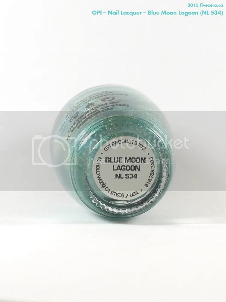 OPI Nail Lacquer in Blue Moon Lagoon, label