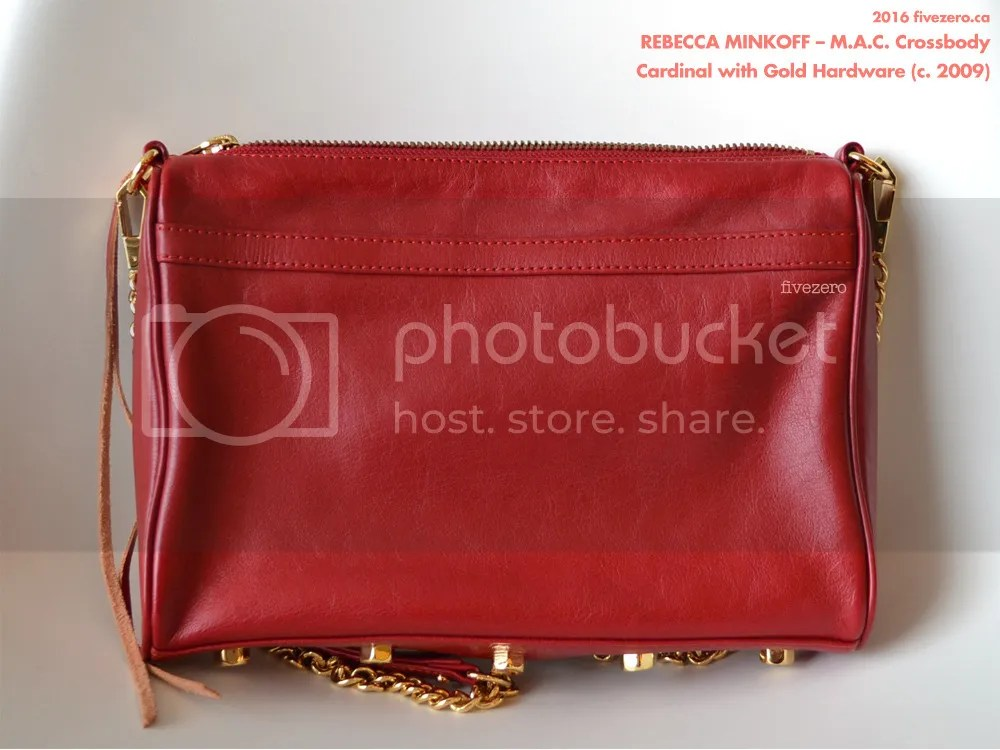 Rebecca Minkoff M.A.C. Crossbody Handbag, Cardinal with gold hardware, rear, 2009