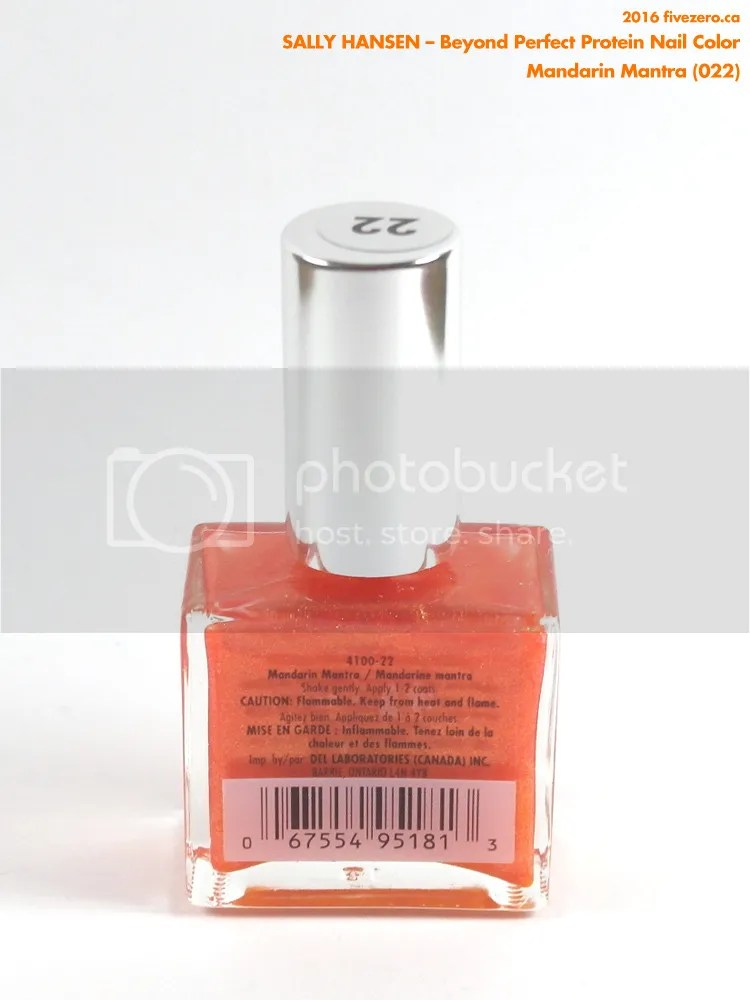 Sally Hansen Beyond Perfect Protein Nail Color in Mandarin Mantra, label