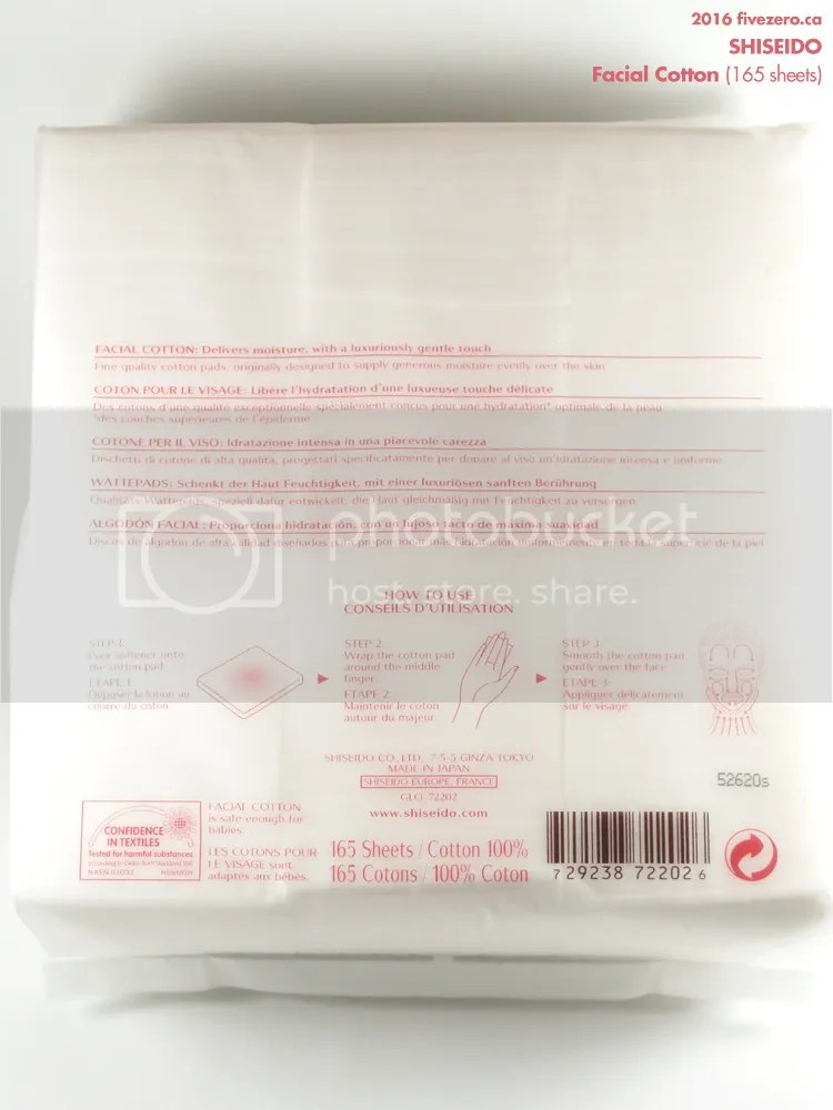 Shiseido Facial Cotton package, back instructions