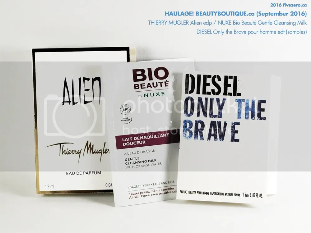 beautyBOUTIQUE by Shoppers Drug Mart, free samples of Thierry Mugler Alien edp, Diesel Only the Brave pour homme edt, Nuxe Bio Beauté Gentle Cleansing Milk