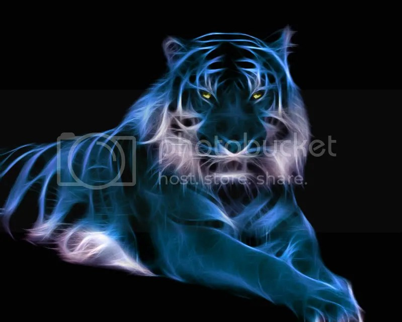 Tiger with internally luminescent neon stripes. In blue.