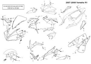 Complete Black Fairing Bolt Kit Body Screws for 20072008